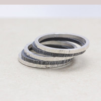 Set of 5 hammered ring with 925 sterling silver,stacking ring
