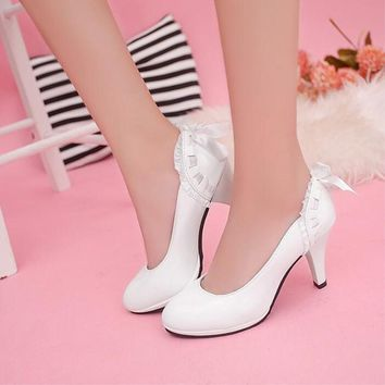 2016 New Candy color Women's pumps Waterproof platform Heels Shoes lace Bow Women Shoe
