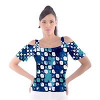 Blue texture Women's Cutout Shoulder Tee