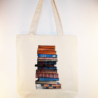 Vintage Stacked Books Image on 15x15 Canvas Tote by Whimsybags