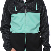 Empyre Big Mouth Monogram Black & Teal Tech Fleece Hooded Jacket
