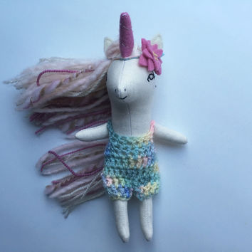 Crocheted Romper and Flower Crown - pastel and pink- for Liberty Lavender Dolls Unicorn Mini Doll (Doll sold separately)