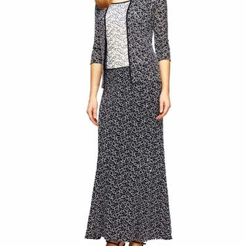 Alex Evenings - 112973 Two-Piece Lace Dress with Open Jacket