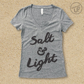 Salt & Light Vintage Tee in Heather Grey / Charcoal.....Christian Graphic tee, Graphic t-shirt, Inspirational, Workout Top, Workout Shirt