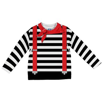 Halloween French Mime Costume All Over Toddler Long Sleeve T Shirt