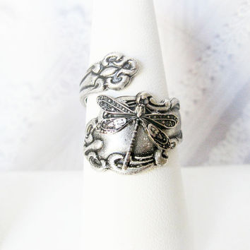 Spoon Ring - Adjustable Silver Dragonfly SPOON RING - ORIGINAL Jewelry by BirdzNbeez -  Keepsake Wedding Birthday Bridesmaids Gift