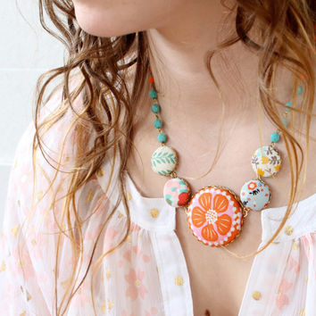 The Pink and Orange Statement Necklace