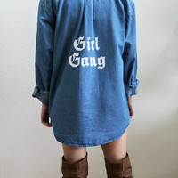 Girl Gang Denim Button Up Unisex Shirt