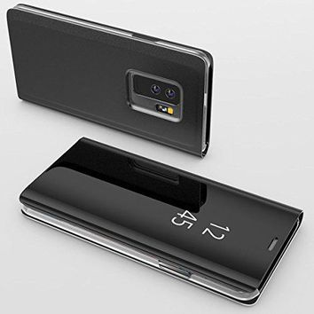 Samsung Galaxy S9 Plus Case,Electroplating Ultra-thin Translucent Mirror Clear Luxury Shockproof Protective Metal Aluminum Smart View Flip Stand Cover Case for Samsung Galaxy S9 Plus Black