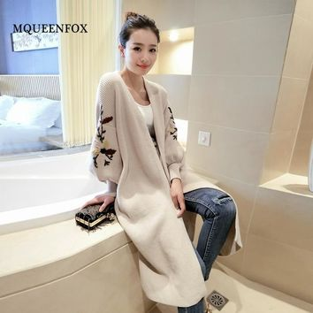 Floral Long Cardigan 2018 Autumn Winter Fashion Long Womens Knitted Female Sweater Large Coat High Quality Cardigan Sweater