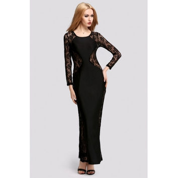 New Fashion Lady Women's Long Sleeve O-neck Party Cocktail Prom Ball Gown Sexy Long Dress
