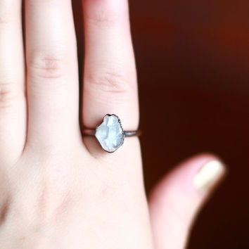 Crystal Ring Celestite Ring Raw Stone Ring by AmandaLeilaniDesigns