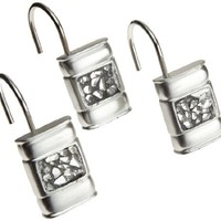 "Popular Bath ""Sinatra Silver"" Shower Curtain Hooks, Set of 12"