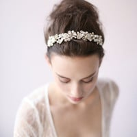 Pearl and beaded leaf cluster headband - Style # 416 - Ready to Ship