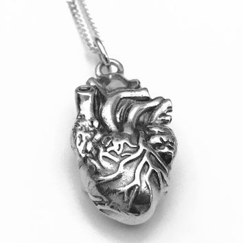 Anatomical Heart Necklace, Heart Necklace, 3D Anatomical Heart Pendant, Anatomical Heart, Sterling Silver Pendant, Sterling Silver Heart
