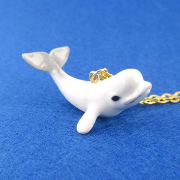 3D Porcelain Beluga Whale Shaped Ceramic Pendant Necklace