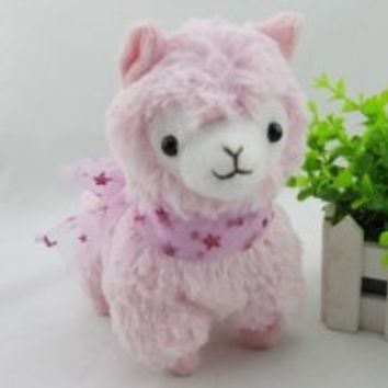ETSYG® Pink Cute Arpakasso Alpaca Plush Toy Soft Animal Stuffed Ribbon Doll For Kid Baby Gift 7""