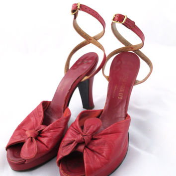 40s Vintage Shoes-1940's Red Leather Ankle Strap Peep Toe Platform Heels