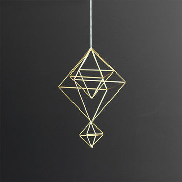 Brass Himmeli no. 7 / Modern Hanging Mobile / Geometric Sculpture