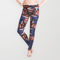 4th of July Modern Usa Flag Pattern Leggings by DFLC Prints