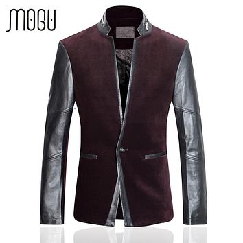 MOGU Lamb Skin Leather Jacket Men 2017 Spring New Corduroy Contrast Color Men's Jackets Fashion Slim Fit Spliced Coats For Male