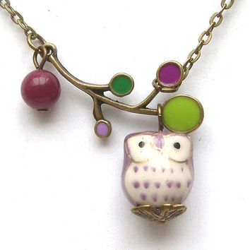Original  Antiqued Brass Leaf Jade Porcelain Owl Necklace