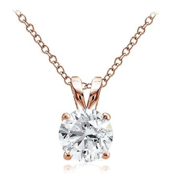 Rose Gold Tone on 925 Silver 2ct Cubic Zirconia 8mm Round Solitaire Necklace