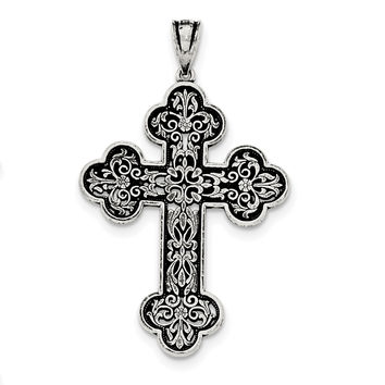 Sterling Silver Antiqued Large Filigree Cross Pendant QC8132