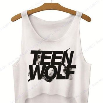 Surfing Surfer Slacker T-shirt Black Teen Wolf Letter Print Tank Tops Crop Vest Ladies Loose Fit Surfing T Shirt Sleeveless Camisole Singlets Curve Bottom KO_12_1