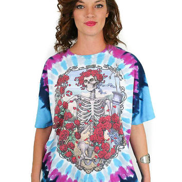 Vintage Grateful Dead Tee 90s All over Print Jerry Garcia Phish Hippie Boho Rock n Roll Tye Dye Skull Wide Spread Panic  Liquid Blue XL
