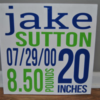 Custom Birth Announcement Wall Art -Personalized - Perfect Gift!