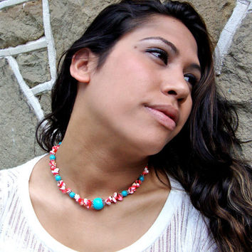 Red shell and turquoise beaded necklace and earring set - red - tuquoise beads - beaded jewelry - sky blue - lobster claw clasp