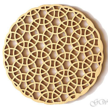 Laser Cut Wood Coaster. Birch Coaster. Abstract pattern
