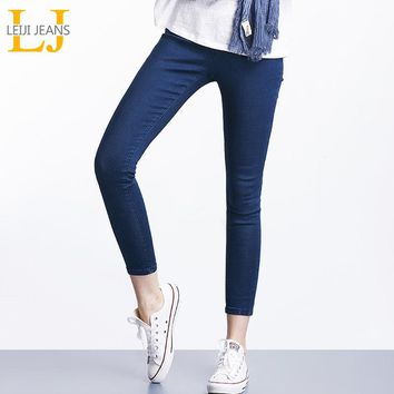 2018 LEIJIJEANS Spring And Summer Plus Size Solid 3 Color Mid Elastic Waist Ankle Length Women Skinny Pencil Stretch Well Jeans