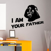 Star Wars Wall Decal Quote I Am Your Father Darth Vader Stickers Children Kids Teens Boys Room Bedroom Dorm Baby Star Wars Art Decor Q182