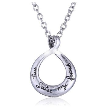 "Silver ""My Sister My Friend"" Engraved Hand stamped Twist Circle Pendant Necklace"