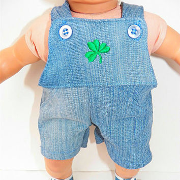 "Bitty Baby Boy Clothes 15"" Doll Clothes Irish Shamrock St. Patrick's Day Blue Jean Denim Embroidered Shortall"
