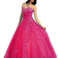 Faironly NRM28 Strapless Formal Dress Prom Gown (S, Hot Pink)