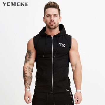New arrival Cotton Hoodie Sweatshirts fitness clothes bodybuilding tank top men Sleeveless sporting Shirt Casual waistcoat v