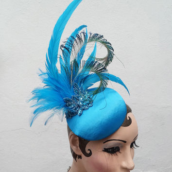 Turquoise Blue Feather Head Piece, Art Deco Costume Fascinator, Peacock Feather Cocktail Hat