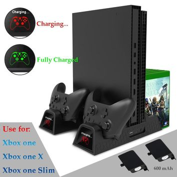 Vertical Cooling Stand Cooler Charging Station for Xbox One X/XBOX ONE S/XBOX ONE with 2 Pack 600mAh Rechargeable Battries