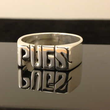 Large Medium Personalized Hand Carved Ring With Name Or Initials ( Silver )