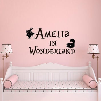 Alice in Wonderland Wall Decal Name- Girl Name Wall Decal - Personalized Name Wall Decals For Girls Cheshire Cat White Rabbit Home Decor 016
