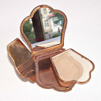 Vintage Refillable Powder Compact. Modele Depose - Made in France. Crown Shape Brass Powder Compact with a Mirror. Antique French Compact.