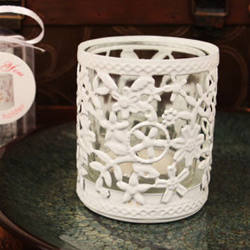 """Glowing Garden"" White Steel Candle Holder with Glass Cup and Tea Light Candle"