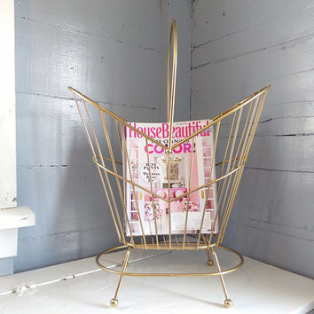 Vintage, Magazine Rack, Standing, Metal, Footed, Mid Century Modern, Minimalist Design, Brass Color, Living Room Decor,   RhymeswithDaughter