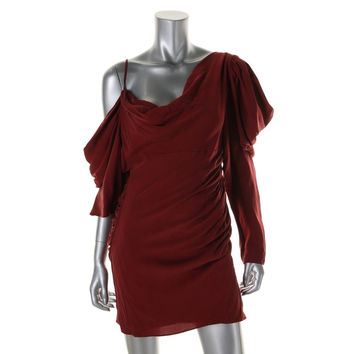 Catherine Malandrino Womens Silk Ruched Party Dress
