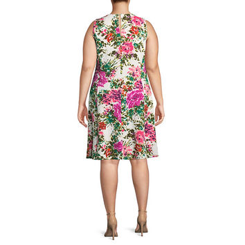 Liz Claiborne Sleeveless Pattern Fit & Flare Dress-Plus - JCPenney