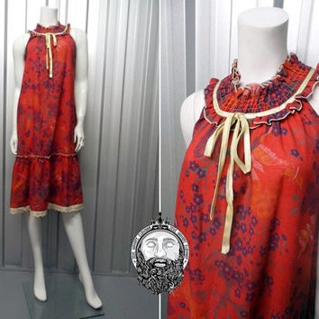 Vintage 70s Red Dress Frill Neck High Collar Prairie Tent Dress Lace Tie Ruched Dress Broderie Anglaise Flounce Floral Print Midi Sleeveless