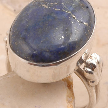Extravagant Lapis Ring in 925 Sterling Silver